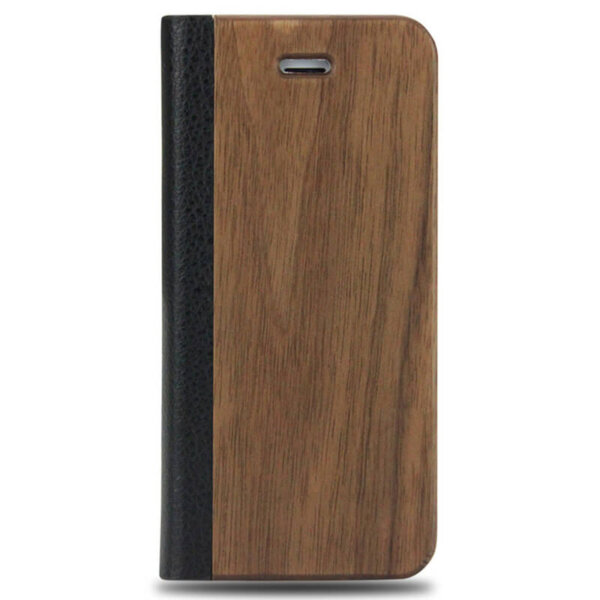 iPhone 5/5S Wood Leather Flip Cover – Bruin