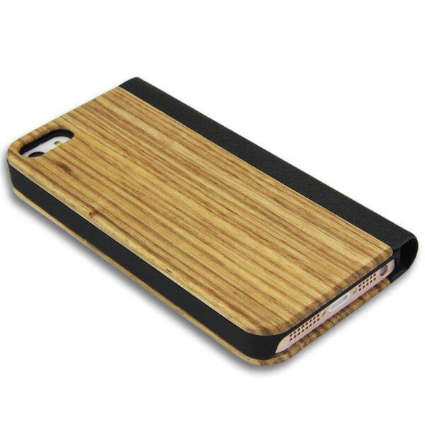 iPhone 5/5S Wood Leather Flip Cover – Zebra Bruin
