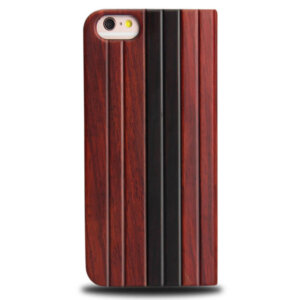 iPhone 6 Full Bamboo Wood Flip Cover - Roodbruin & Zwart
