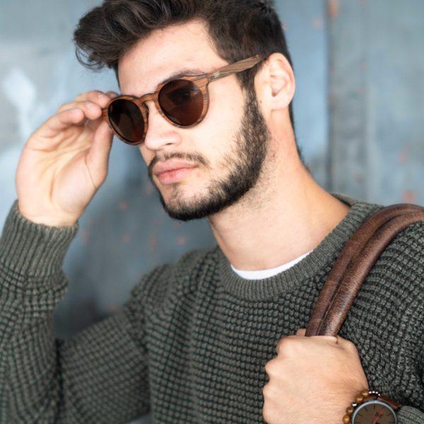 houten bril rond